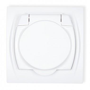 Gniazdo bryzgoszczelne 2P+Z (klapka biała) Karlik LOGO LGPB-1z biały