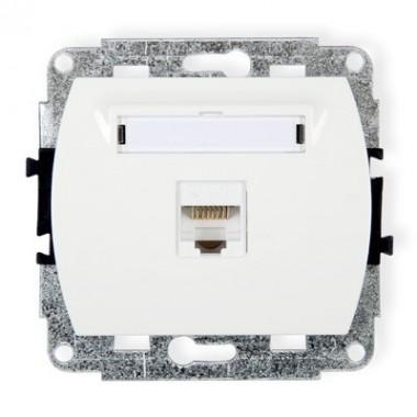 Mechanizm gniazda komputerowego pojedynczego 1xRJ45, kat. 5e, 8-stykowy Karlik TREND GK-1 biały
