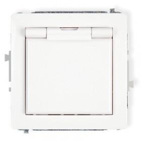 Mechanizm gniazda bryzgoszczelnego 2P+Z (klapka biała) Karlik DECO DGPB-1z biały
