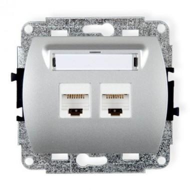 Mechanizm gniazda komputerowego podwójnego 2xRJ45, kat. 5e, 8-stykowy Karlik TREND 5GK-2 srebrny