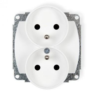 Mechanizm gniazda podwójnego do ramki z uziemieniem 2x(2P+Z) Karlik TREND GPR-2z biały