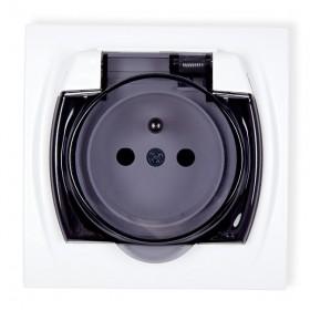 Gniazdo bryzgoszczelne 2P+Z (klapka dymna) Karlik LOGO LGPB-1zd biały