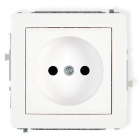 Mechanizm gniazda pojedynczego bez uziemienia 2P Karlik DECO DGP-1 biały