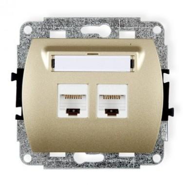 Mechanizm gniazda komputerowego podwójnego 2xRJ45, kat. 5e, 8-stykowy Karlik TREND 6GK-2 złoty
