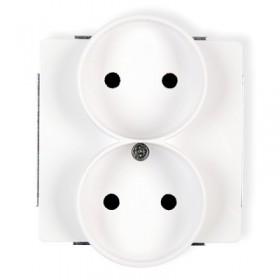 Mechanizm gniazda podwójnego do ramki bez uziemienia 2x2P Karlik DECO DGPR-2 biały