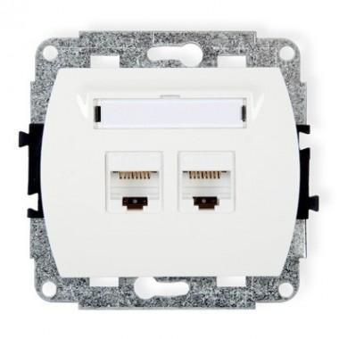 Mechanizm gniazda komputerowego podwójnego 2xRJ45, kat. 6, ekranowane, 8-stykowy Karlik TREND GK-6 biały