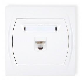 Gniazdo komputerowe pojedyncze 1xRJ45, kat. 5e, 8-stykowy Karlik LOGO LGK-1 biały