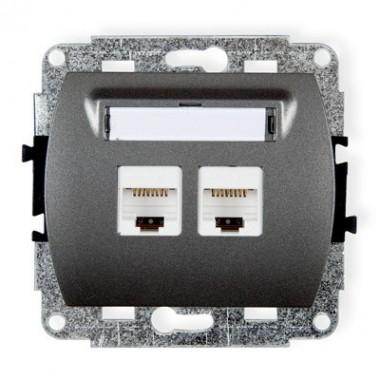Mechanizm gniazda komputerowego podwójnego 2xRJ45, kat. 6, 8-stykowy Karlik TREND 11GK-4 grafitowy