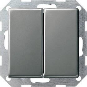 Łącznik przyciskowy Wył. świecznikowy Gira E22 naturalny stalowy 012520