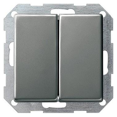 Łącznik przyciskowy przeł./przeł. Gira E22 naturalny stalowy 012820