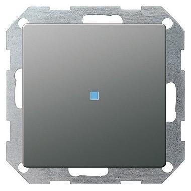 Łącznik przyciskowy kontr, przełączalny Gira E22 naturalny stalowy 013620