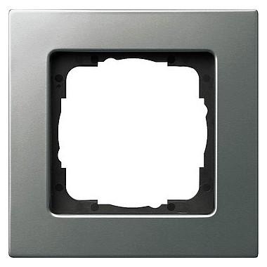 Ramka pojedyncza Gira E22 naturalny stalowy 0211202