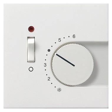 Reg. temp. 230 V styk rozw+wyłącznik Gira F100 biały 0392112
