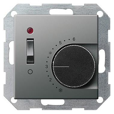 Reg. temp. 230 V styk rozw+wyłącznik Gira E22 naturalny stalowy 039220