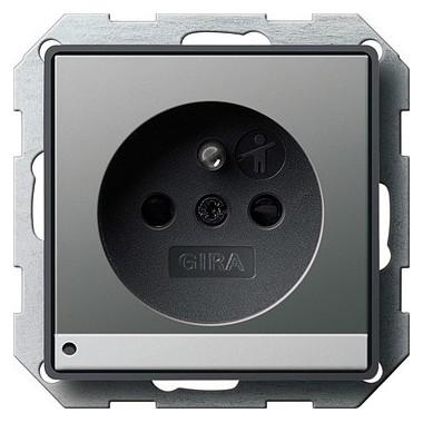 Gniazdo z bolcem podś LED z ochr.dz Gira E22 kolor nat. stalowy 117220