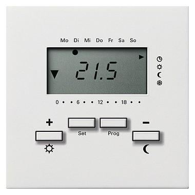Reg. temp. 230 V z zegarem Gira F100 biały 2370112