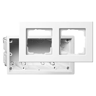 Zestaw montażowy + ramka podwójna Gira E22 biały 2882201