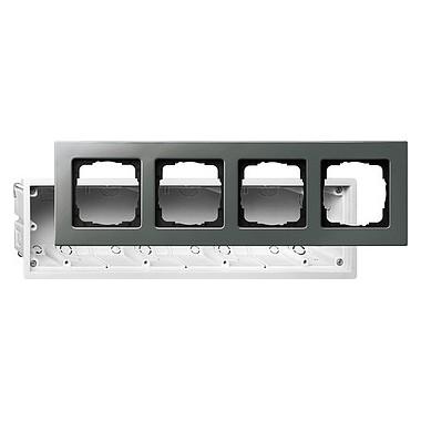 Zestaw montażowy z ramką poczwórną Gira E22 naturalny stalowy 2884202