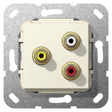 Cinch audio, comp Rozgałęźnik kabl. Urządzenie podtynk. kremowy 563701