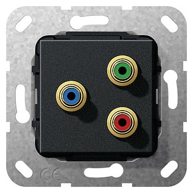 Cinch component YUV Sprzęg Urządzenie podtynk. czarny matowy 563910