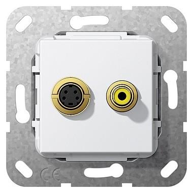S-video, composite Rozgałęźnik kabl. Urządzenie podtynk. biały 566003