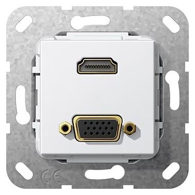 HDMI, VGA Rozgałęźnik kabl. Urządzenie podtynk. biały 567703