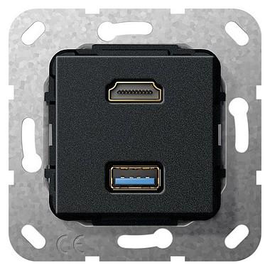 HDMI, USB 3.0 A Rozgałęźnik kabl. Urządzenie podtynk. czarny matowy 567910