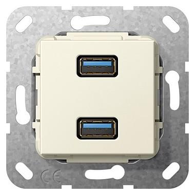 USB 3.0 A podwójny Sprzęg Urządzenie podtynk. kremowy 568401