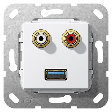 USB 3.0 A, cinch audio Sprzęg Urządzenie podtynk. biały 569003