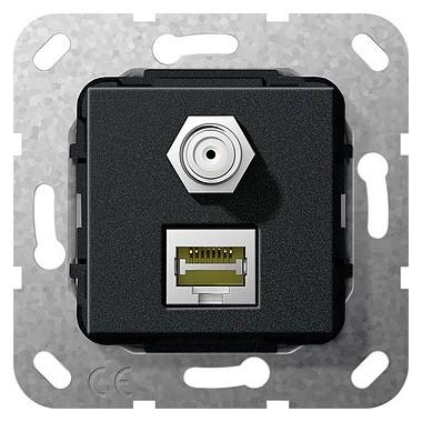 MJ RJ45 kat.6 10 GB, SAT F Przejś. Urządzenie podtynk. czarny matowy 569710