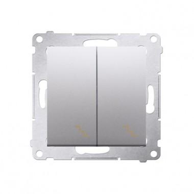 Łącznik schodowy podwójny (moduł) 10AX, 250V~,  srebrny mat DW6/2.01/43