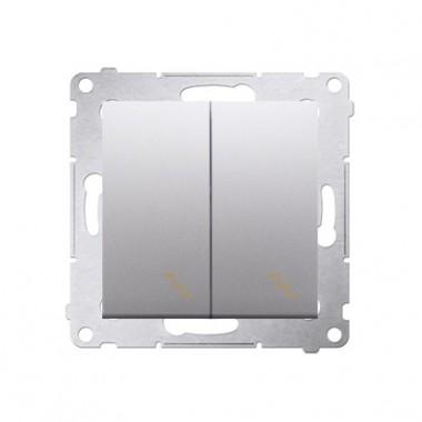 Łącznik schodowy podwójny z podświetleniem (moduł) 10AX, 250V~,  srebrny mat DW6/2L.01/43