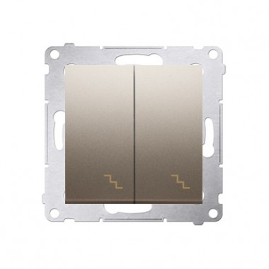 Łącznik schodowy podwójny z podświetleniem (moduł) 10AX, 250V~,  złoty mat DW6/2L.01/44