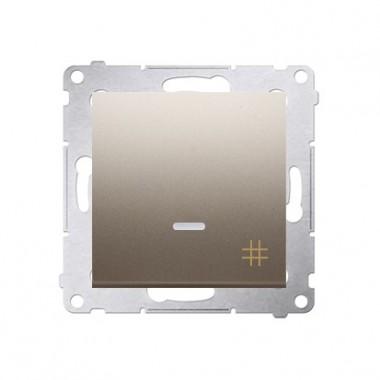 Wyłącznik krzyżowy podświetlany SIMON 54 złoty mat DW7L.01/44