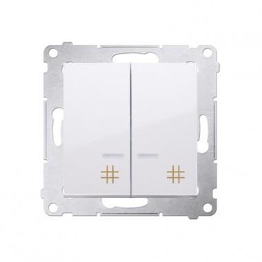 Wyłącznik krzyżowy podwójny z podświetleniem SIMON 54 biały DW7/2L.01/11