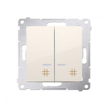 Wyłącznik krzyżowy podwójny z podśw. LED SIMON 54 - kremowy DW7/2L.01/41