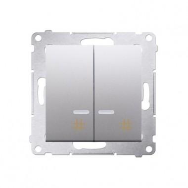 Wyłącznik krzyżowy podwójny z podśw. LED SIMON 54 - srebrny mat, metalizowany DW7/2L.01/43