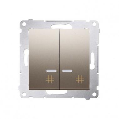 Wyłącznik krzyżowy podwójny z podśw. LED SIMON 54 - złoty mat, metalizowany DW7/2L.01/44