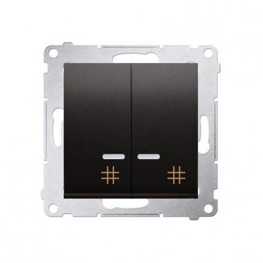 Wyłącznik krzyżowy podwójny z podśw. LED SIMON 54 - antracyt, metalizowany DW7/2L.01/48