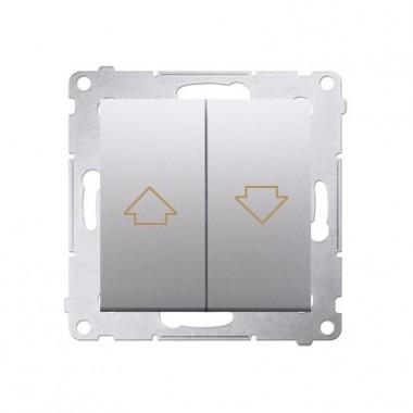 Przycisk żaluzjowy do sterowania jedną roletą z wielu miejsc srebrny mat, metalizowany 10A DZP1W.01/43