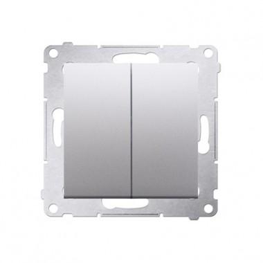 Przycisk podwójny zwierny (bez poktogramów) SIMON 54 - srebrny mat DP2.01/43