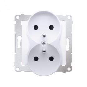 Gniazdo wtyczkowe podwójne z uziemieniem z przesłonami (moduł) ~  biały DGZ2MZ.01/11