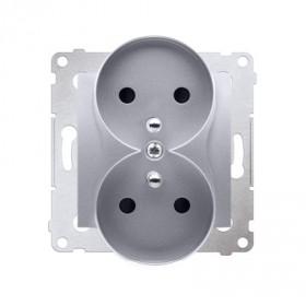 Gniazdo wtyczkowe podwójne z uziemieniem z przesłonami (moduł) ~  srebrny mat DGZ2MZ.01/43