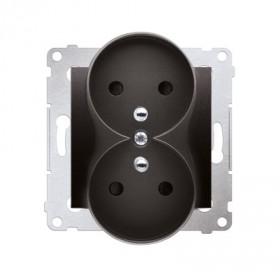 Gniazdo wtyczkowe podwójne z uziemieniem z przesłonami (moduł) ~  antracyt DGZ2MZ.01/48