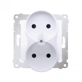 Gniazdo wtyczkowe bez uziemienia z przesłonami podwójne (moduł) ~  biały  *Do ramek S54 PREMIUM DG2MZ.01/11