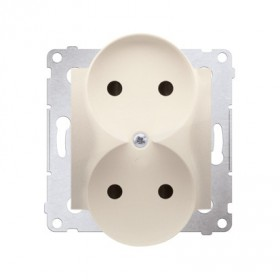 Gniazdo wtyczkowe bez uziemienia z przesłonami podwójne (moduł) ~  krem  *Do ramek S54 PREMIUM DG2MZ.01/41