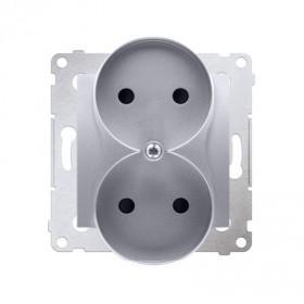 Gniazdo wtyczkowe bez uziemienia z przesłonami podwójne (moduł) ~  srebrny mat *Do ramek S54 PREMIUM DG2MZ.01/43