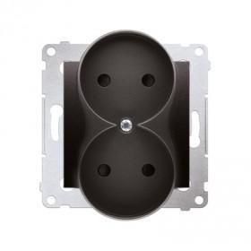 Gniazdo wtyczkowe bez uziemienia z przesłonami podwójne (moduł) ~  antracyt  *Do ramek S54 PREMIUM DG2MZ.01/48