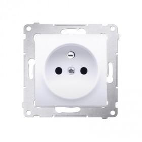 Gniazdo wtyczkowe z uziemieniem i przesłonami (moduł)   biały DGZ1Z.01/11