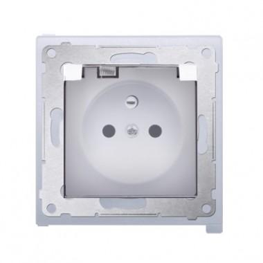 Gniazdo z/u z klapką transparentną IP44 SIMON 54 Premium - biały DGZ1BZ.01/1